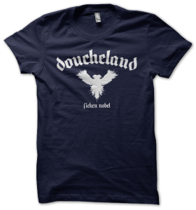 doucheland tee - white on navy
