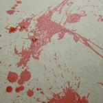Blood splatter for hang tags.