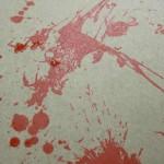 Blood splatter for hang tags.